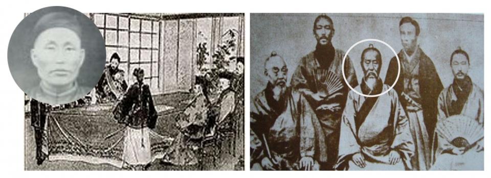 향덕굉과 그가 청국에서 활동하는 모습. 오른쪽 사진 가운데 앉은 이가 자결한 임세공