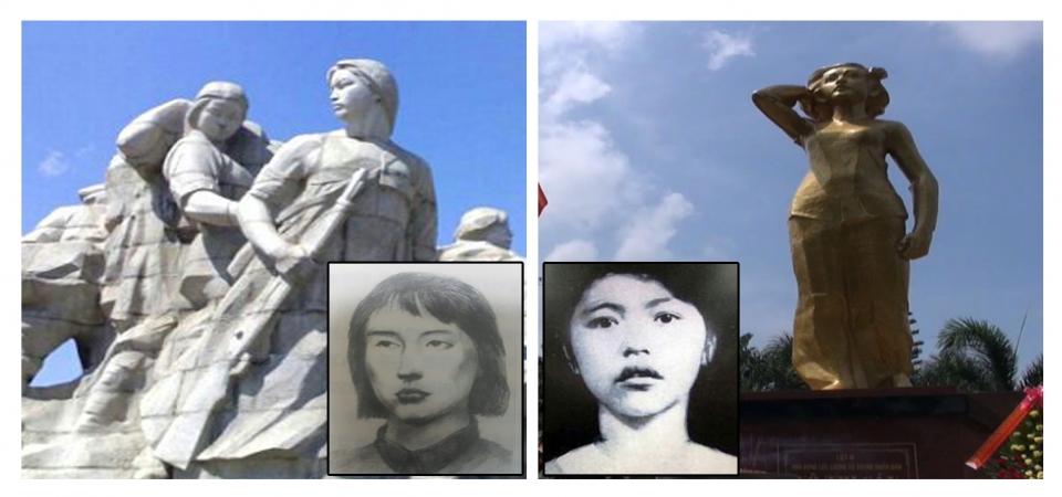 이봉선과 그의 석상. 오른쪽은 보티사우와 그의 생가 옆에 세워진 동상