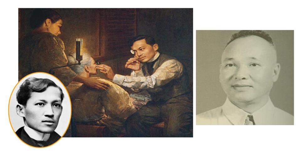 호세 리잘과 그가 어머니 눈을 시술하는 모습을 담은 그림. 오른쪽은 베트남 의사 팜 응옥 타이