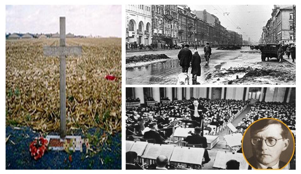 벨기에 이프르에 세워진 '크리스마스 정전' 기념비. 오른쪽 위는 독일군 봉쇄로 텅 빈 레닌그라드 시가지. 아래는 당시 연주회 모습과 쇼스타코비치