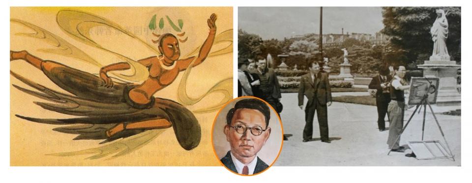 키질 석굴에 있는 한낙연 자화상과 그가 모사한 벽화. 오른쪽은 그가 파리 거리에서 작업하는 모습