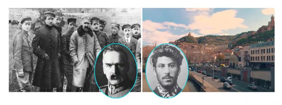 폴란드 독립군과 건국의 아버지 피우수트스키. 오른쪽은 젊은 시절의 스탈린과 그가 1907년 현금 수송 마차를 습격한 조지아의 수도 트빌리시