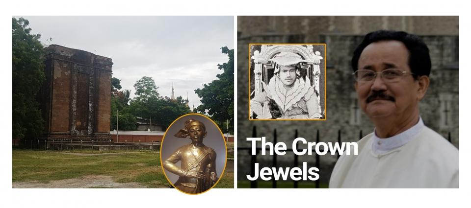 끄넝 왕세자 동상과 그가 수도 만들레이 근교에 세운 주물 공장 터. 오른쪽은 띠버 왕과 BBC에 출연한 증손자 우 소 윈