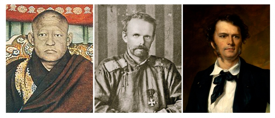 왼쪽부터 복드칸, 운게른 남작, 제임스 브룩