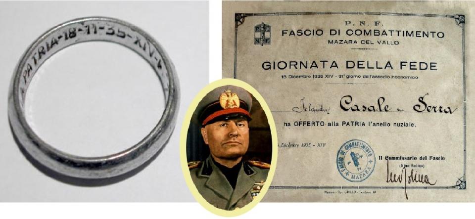무솔리니 정권이 '조국의 금' 운동 참여자에게 나눠준 철제 반지와 기부 증명서. 가운데는 독재자 베니토 무솔리니(1883~1945)